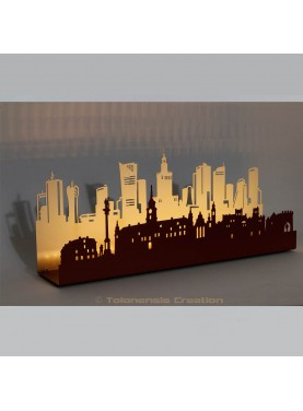 Ambient Led Lamp Varsovia in the sunset. Width 50 cm